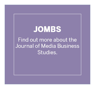 Text: JOMBS - Find out more about the Journal of Media Business Studies