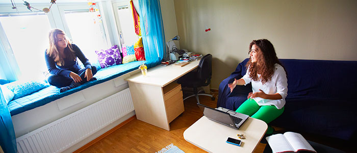 Two students in a student apartment